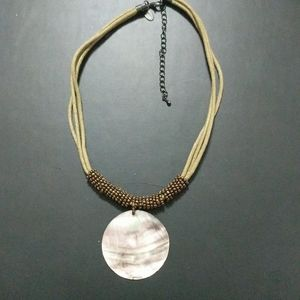Lia Sophia Mother of Pearl Leather Necklace